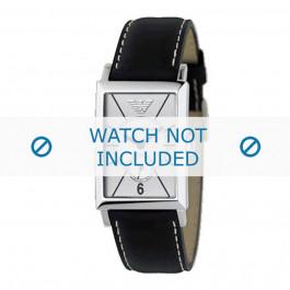 Armani correa de reloj AR-0129 Piel Negro 20mm + costura blanca