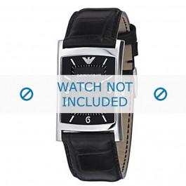 Armani correa de reloj AR-0147 Piel de cocodrilo Negro 22mm