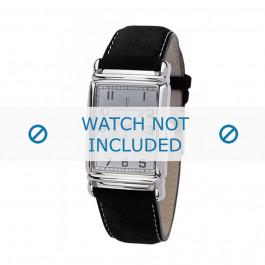 Armani correa de reloj AR-0233 Piel Negro 26mm + costura blanca