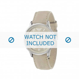 Armani correa de reloj AR-0621 Piel Blanco crema 20mm