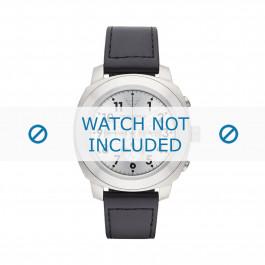 Armani correa de reloj AR6054 Cuero Negro 22mm + costura negro