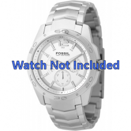 Fossil correa de reloj BQ9327 / BQ9328 Metal Plateado 22mm