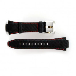 Correa de reloj Seiko 7T62-0ED / SNA633P1 Cuero Negro 15mm