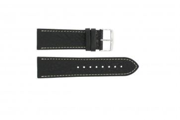 Correa de reloj 307.01 Cuero Negro 18mm + costura blanca