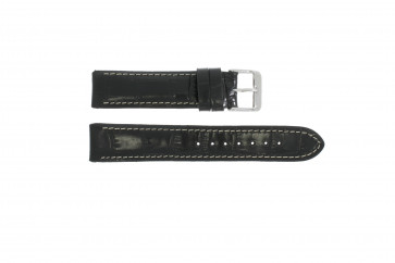Correa de reloj  de cuero genuino tipo cocdrilo negra 20mm 61324