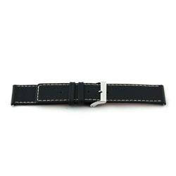 Correa de reloj de cuero genuino para relojes en negro con costuras blancas 30mm J43