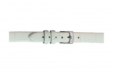 Morellato correa de reloj Thin D2860656017CR06 / PMD017THINA06 Piel de cocodrilo Blanco 6mm