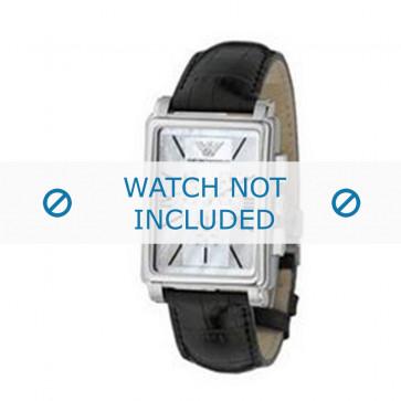 Armani correa de reloj AR-0141 Piel de cocodrilo Negro 20mm