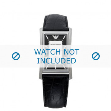 Armani correa de reloj AR-0158 Piel de cocodrilo Negro 23mm