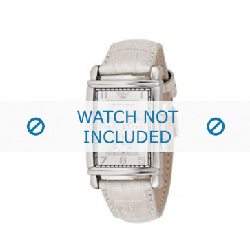 Armani correa de reloj AR-0295 Piel de cocodrilo Blanco 22mm