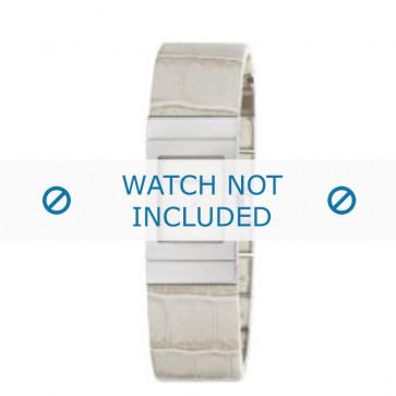 Armani correa de reloj AR-5482 Piel de cocodrilo Blanco crema 18mm
