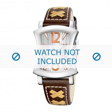 Calypso correa de reloj K5198-2 Cuero Marrón 17mm + costura blanca