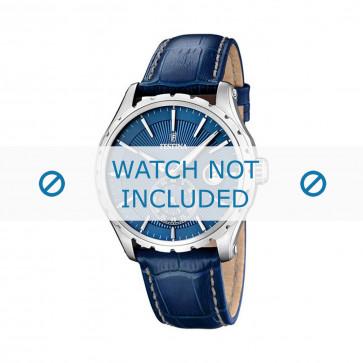 Festina correa de reloj F16486/6 Piel Azul 23mm + costura blanca
