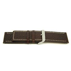 Correa de reloj de cuero genuino para relojes en marrón con costuras blancas 30mm H79