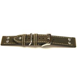 Correa de reloj de cuero genuino color marrón oscuro 22mm H393