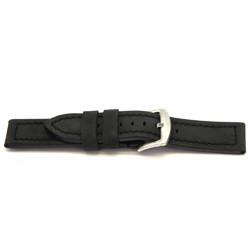 Correa de reloj de cuero genuino negro 24mm I103