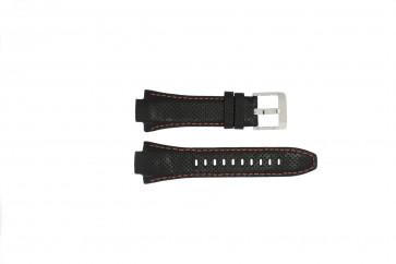 Seiko correa de reloj 7L22-0AE0 / SNL017P1 / 4KG8JZ /SNL021P9 Cuero Negro 15mm + costura naranja