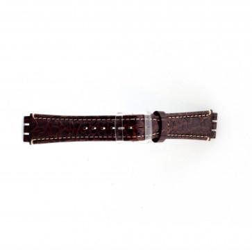 Correa de reloj de cuero genuino para relojes Swatch croco marrón 19mm ES- 2.02