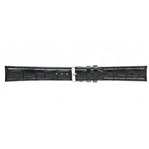 Morellato correa de reloj Bolle XL Y2269480019CR22 / PMY019BOLLE22 Piel de cocodrilo Negro 22mm + costura predeterminada