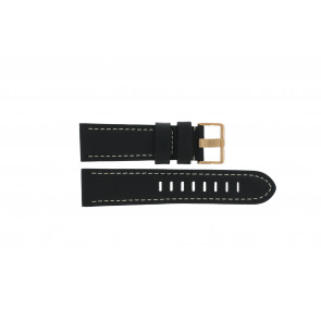 Prisma correa de reloj LEDZWR Cuero Negro 23mm + costura blanca
